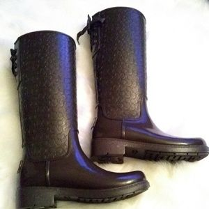 COACH brown RAINBOOTS 10